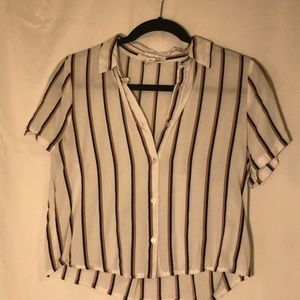 Button-Up Cropped Striped Top
